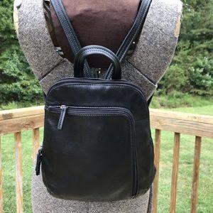 Tignanello Black Leather Backpack Purse